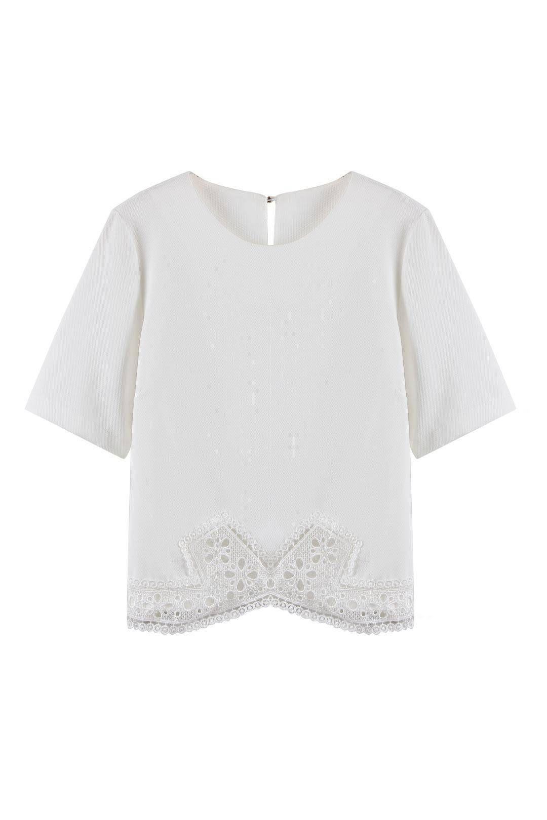 White Lace Hem Blouse - US$19.95 -YOINS