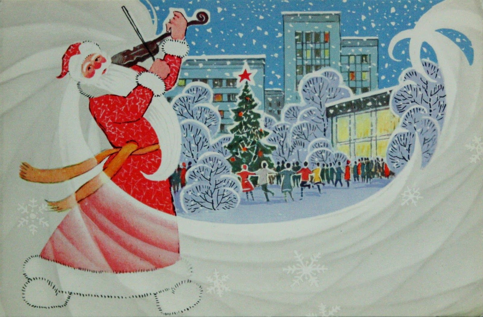 Новогодние открытки ссср дед мороз с часами