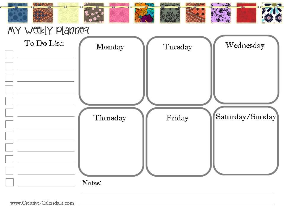 Printable Schedule  Organization    Planners Weekly