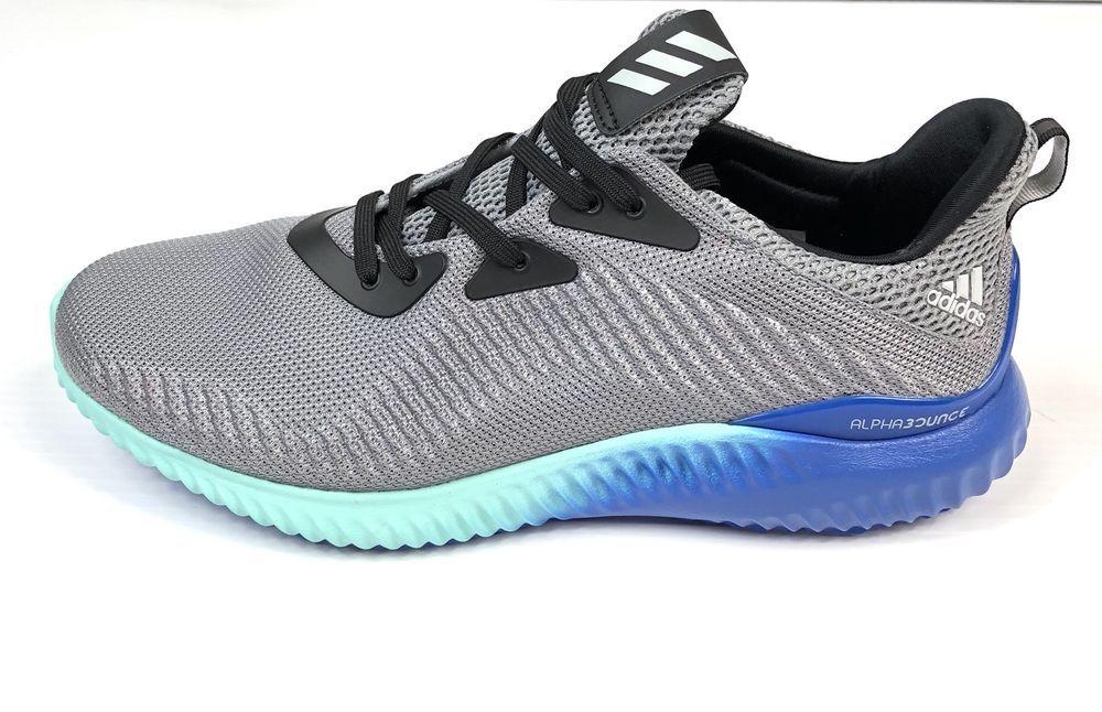 c2e64b8e945c Adidas Alphabounce Running Shoes Size 10 Mens Grey Onyx Aqua BB9035 New