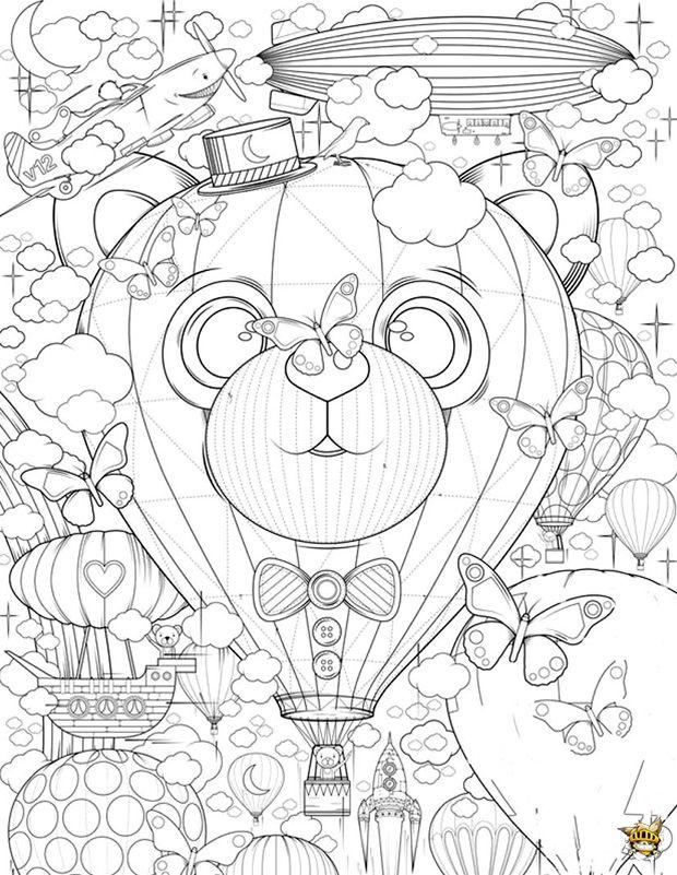 montgolfire zen est un coloriage pour adultes imprimer - Coloriage Pour Adulte Imprimer