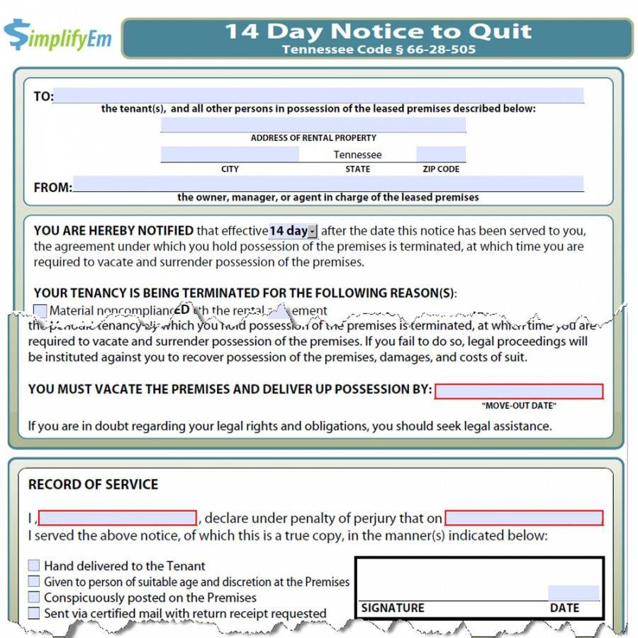 Explore Our Printable Eviction Notice Tn Template Being A Landlord Eviction Notice 30 Day Eviction Notice