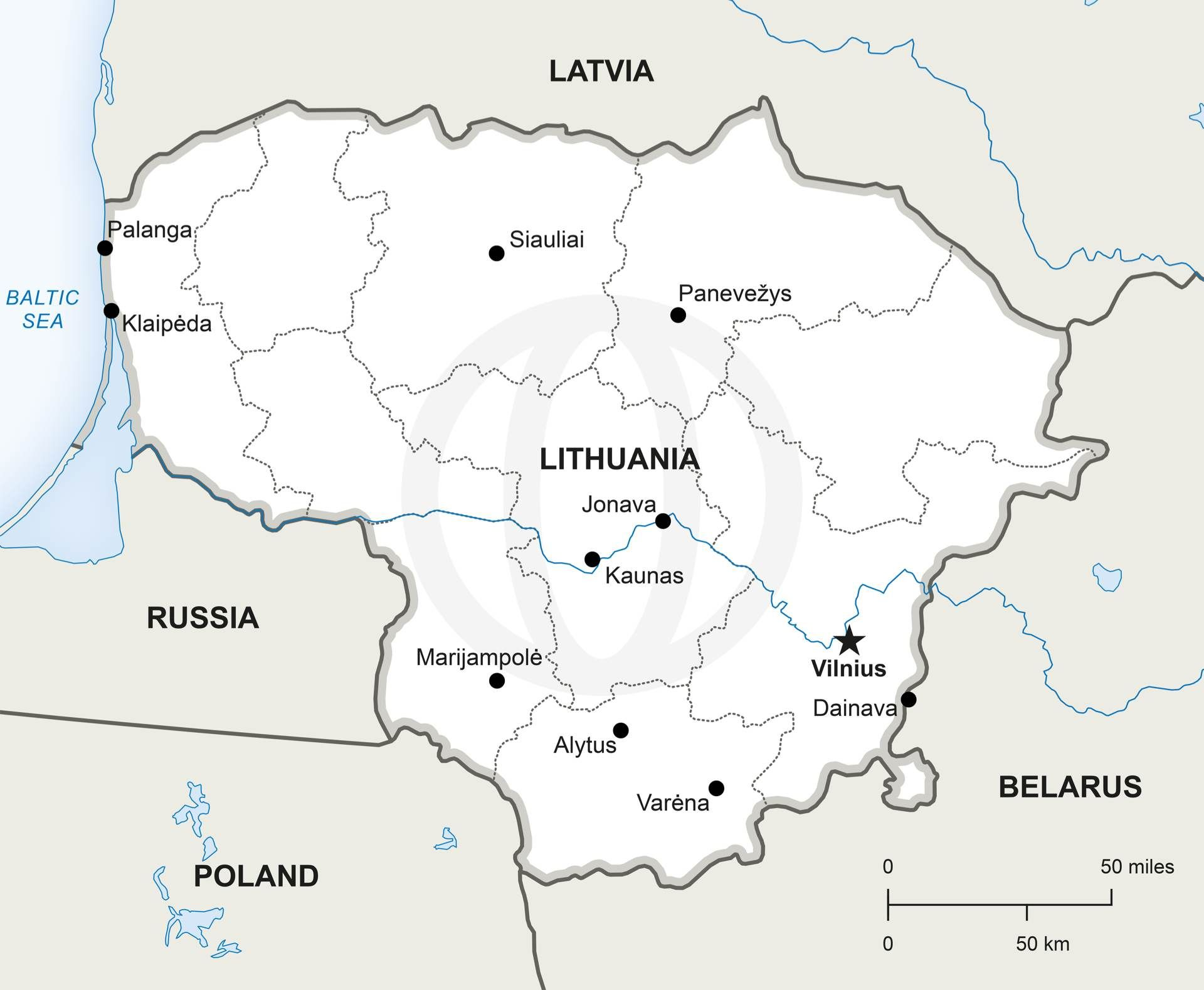 Vector Map Of Lithuania Political Lithuania - World map with countries and capitals high resolution pdf
