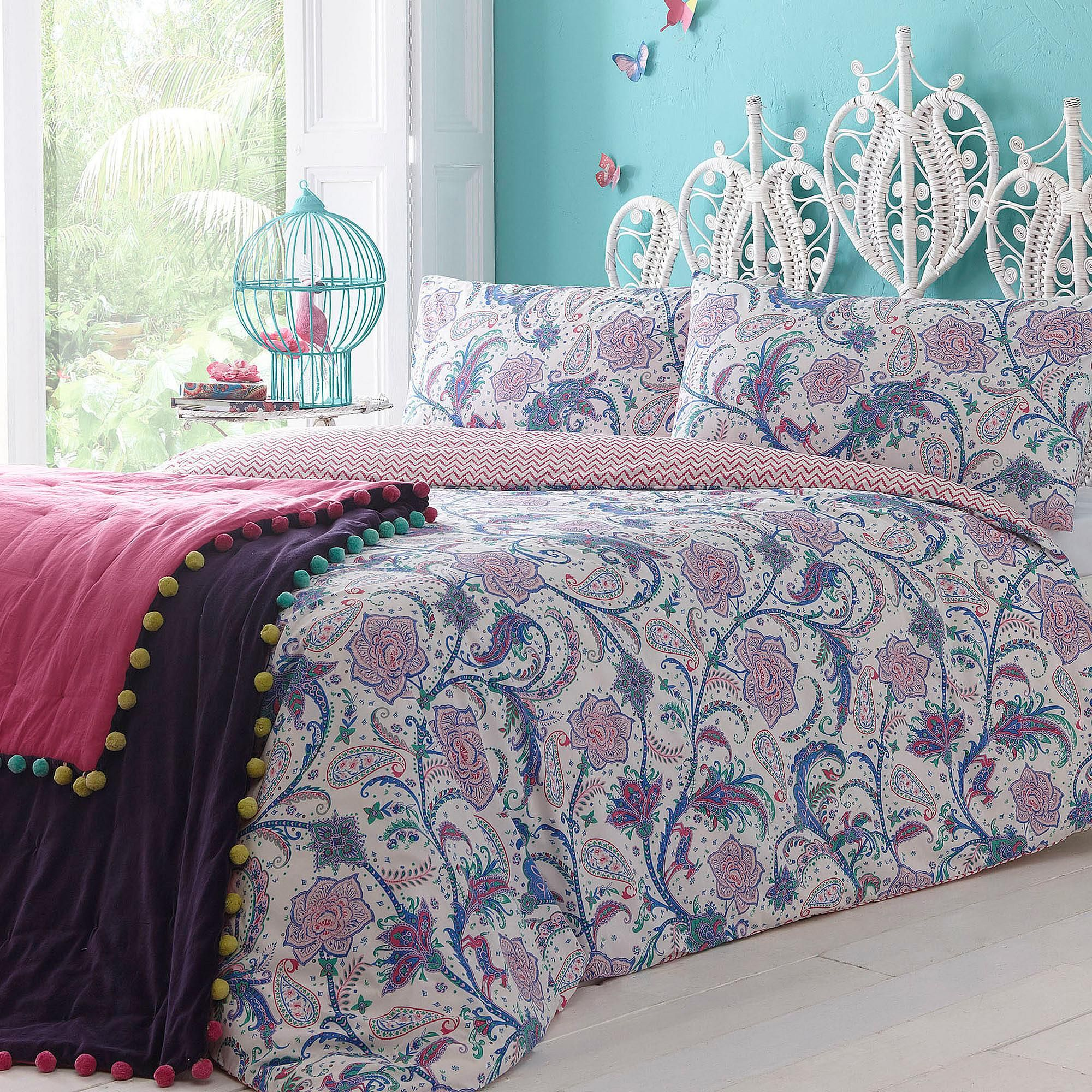 Paisley Grey /& Purple Colour Duvet Quilt Cover Bedding Sets with Pillow Cases