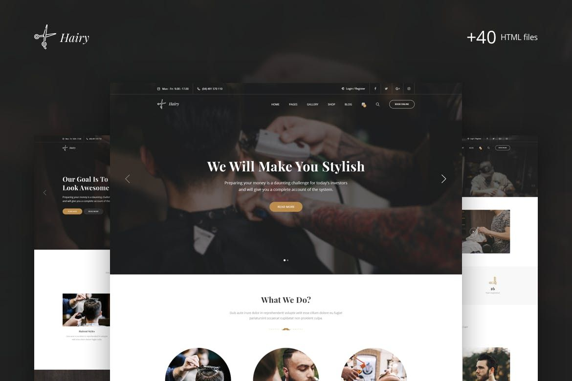 Hairy Barbershop Hair Salon Html Template By Zytheme On Envato Elements Hair Salon Salon Website Barber Shop