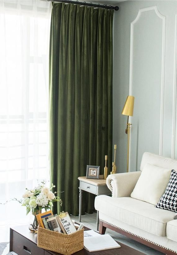 Pair of Olive Green Velvet Curtains, Bedroom Velvet Curtains, Living Room Silk Velvet Curtains, Custom Curtains – vagia