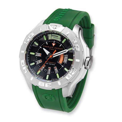 Green Strap Stainless Steel Automatic Watch by Charles Hubert Paris Watches, Best Quality Free Gift Box Satisfaction Guaranteed | Your #1 Source for Watches and Accessories