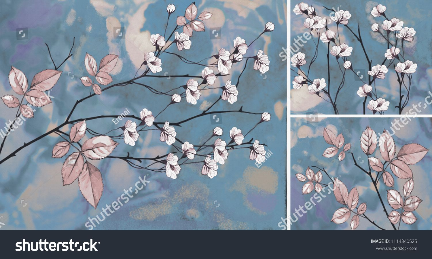 Collection of designer oil paintings decoration for the interior modern abstract art on canvas white flowers on blue background
