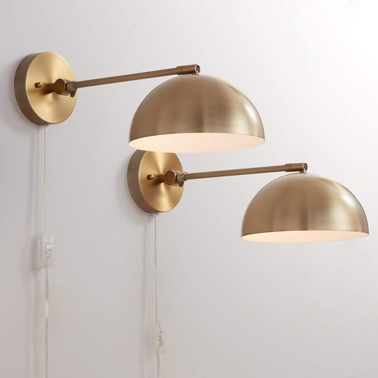 Brava Antique Brass Down Light Wall Lamp Set Of 2 39w56 Lamps Plus Modern Wall Lamp Wall Lights Wall Lamp