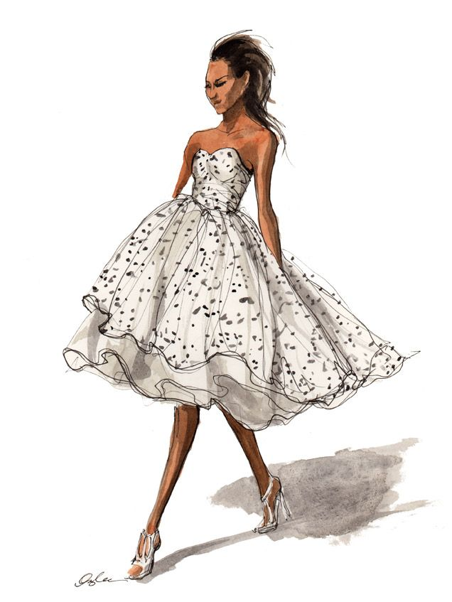 The hairstyle (and facial features) desperately need a makeover ... but the dress and shoes are just gorgeous. For that reason, I had to show you this illustration by Inslee Haynes.