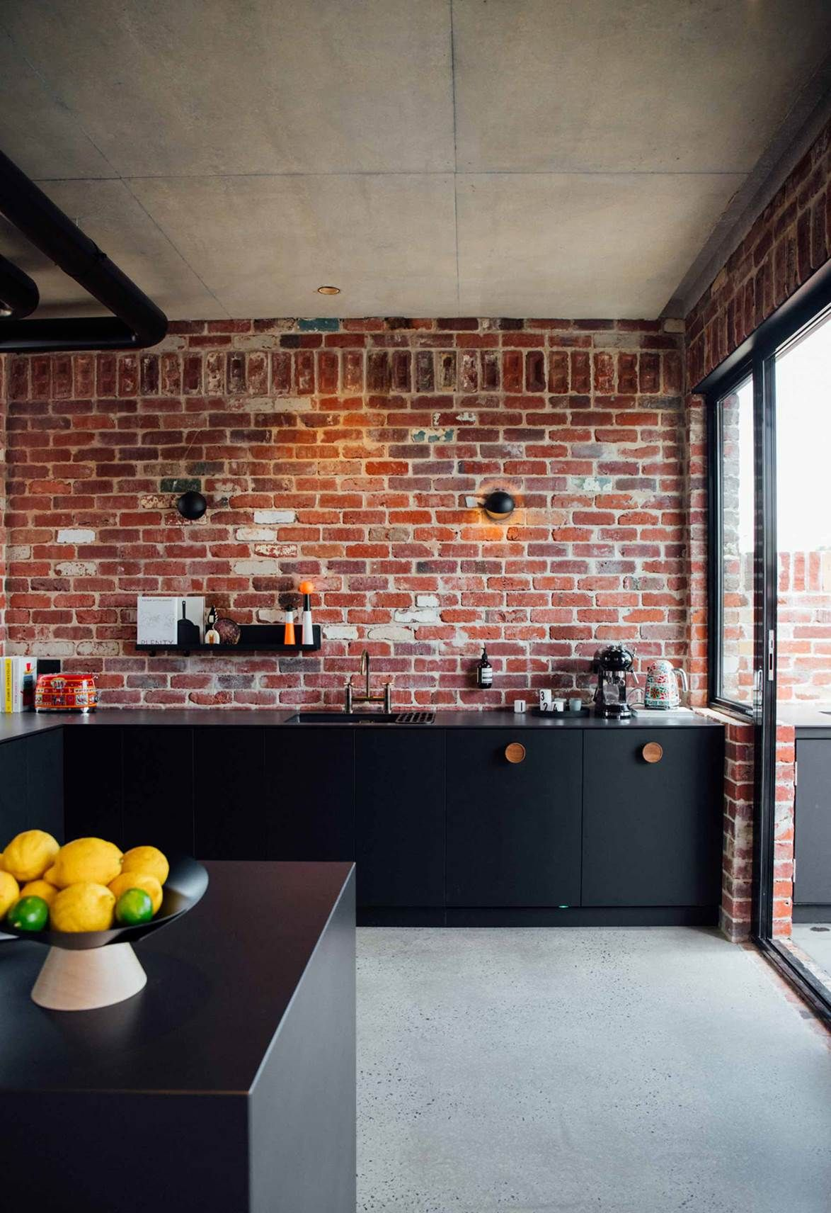 An Industrial Style New Brick House In Perth Industrial Style Kitchen Concrete Kitchen Floor Industrial Flooring