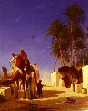 Arab Painting - Les Chameliers Buvant Le The Arabian Orientalist Charles Theodore Frere