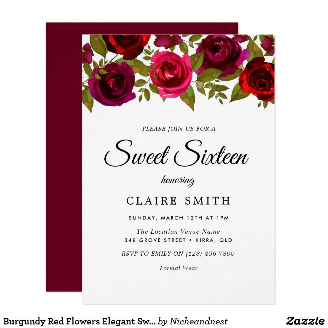 Burgundy Red Flowers Elegant Sweet 16 Invite Zazzle Com In 2019