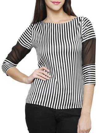 Buy Shilpkala black, white crepe top Online, , LimeRoad
