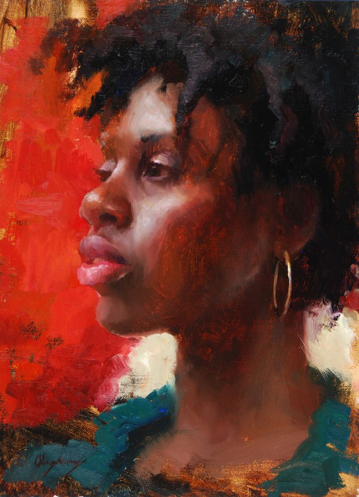 """Red"" - Marci Oleszkiewicz, oil on linen {female head art ..."