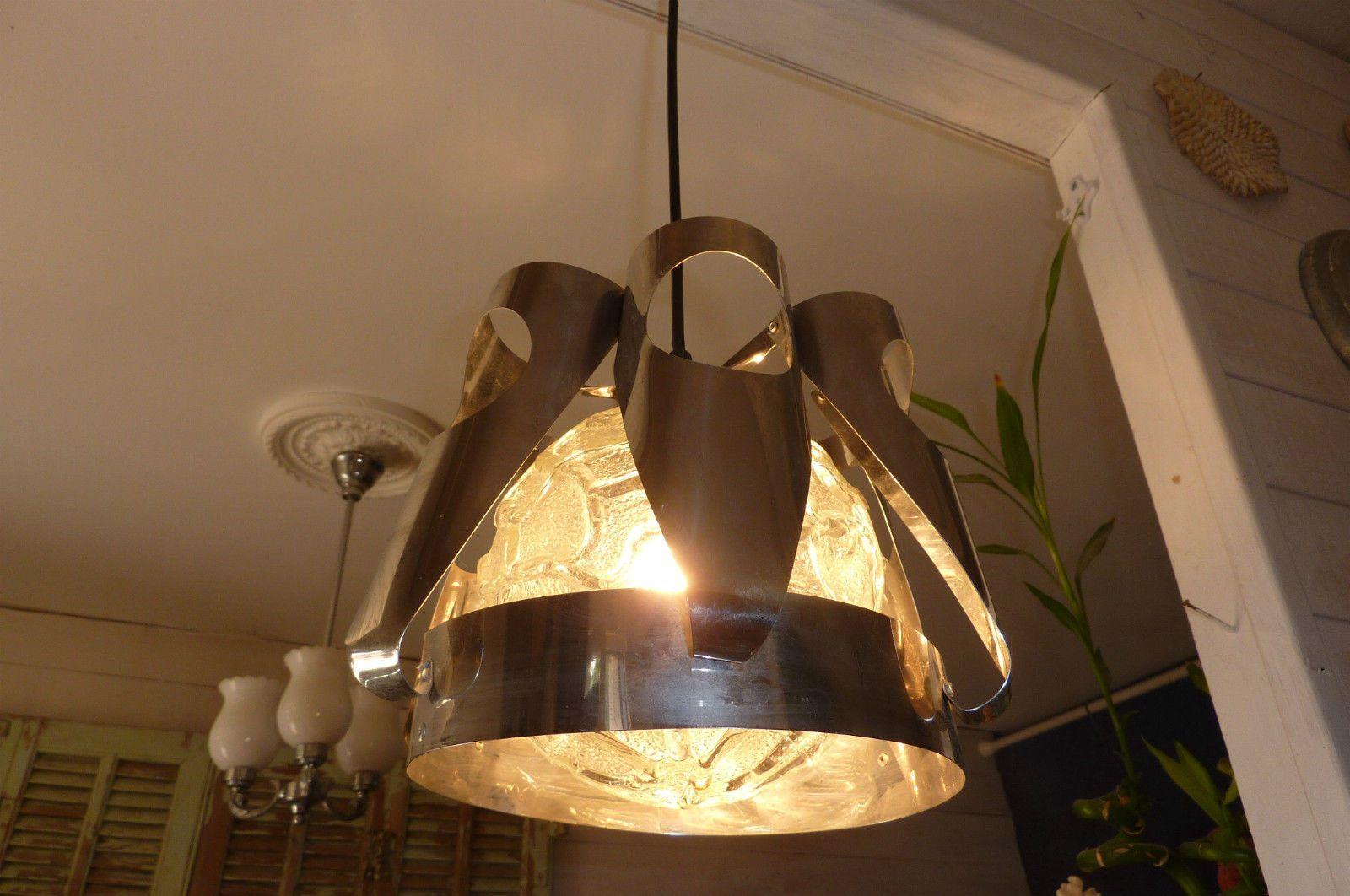 luminaire lampe lustre suspension années 70 Vintage en inox et verre ...
