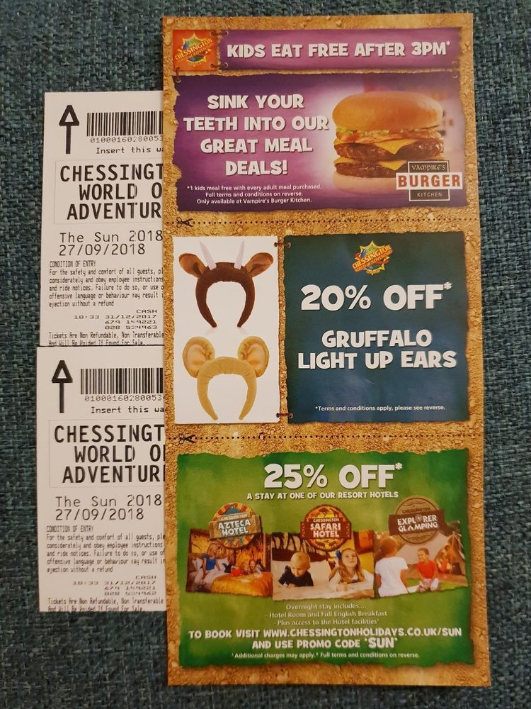 2 x Chessington World of Adventures Tickets- 27 September