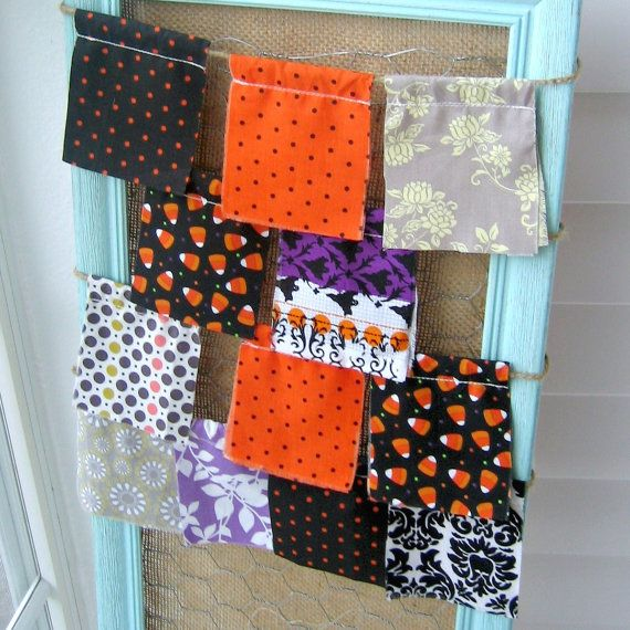 Halloween flags, Halloween banner, Halloween decoration, Halloween Pennant, Halloween Party Decor, Halloween Fabric Flags  - No. 60