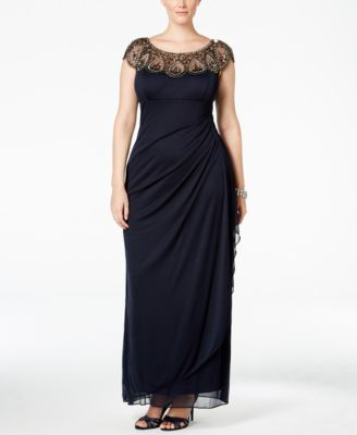 a6bc6fe4ebc Xscape Plus Size Illusion Beaded Gown