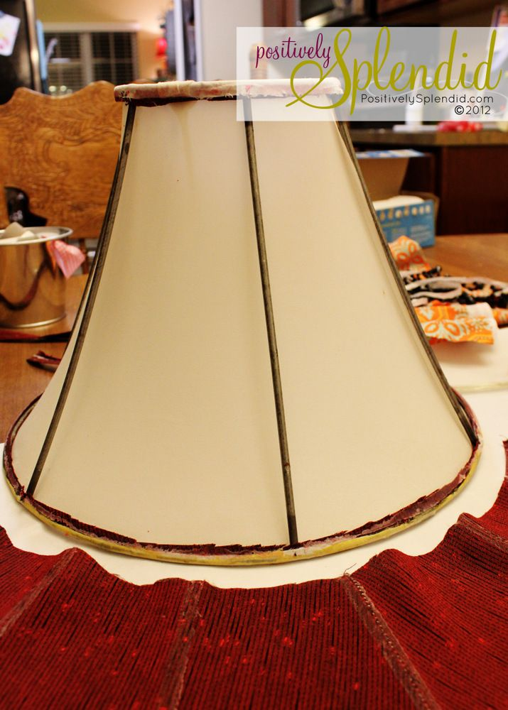 How To Recover A Lampshade Lampshade Makeover Diy Lamp Makeover