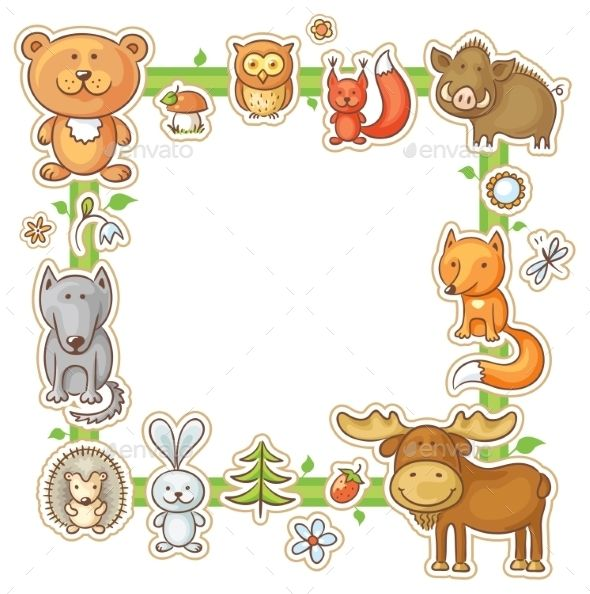 Square Frame With Forest Animals Forest Animals Family Drawing Clip Art Borders