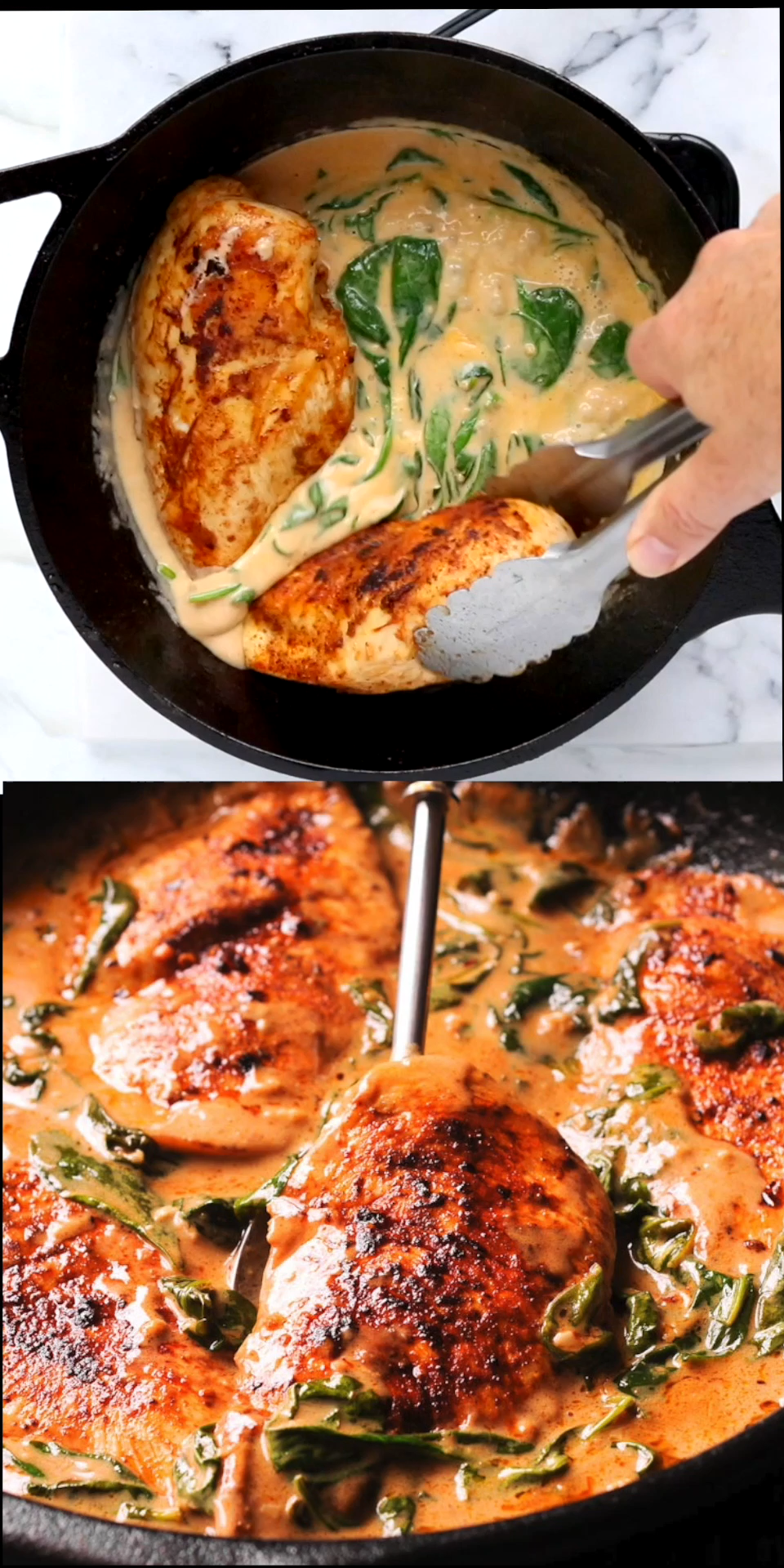 Chicken and Spinach in Creamy Paprika Sauce