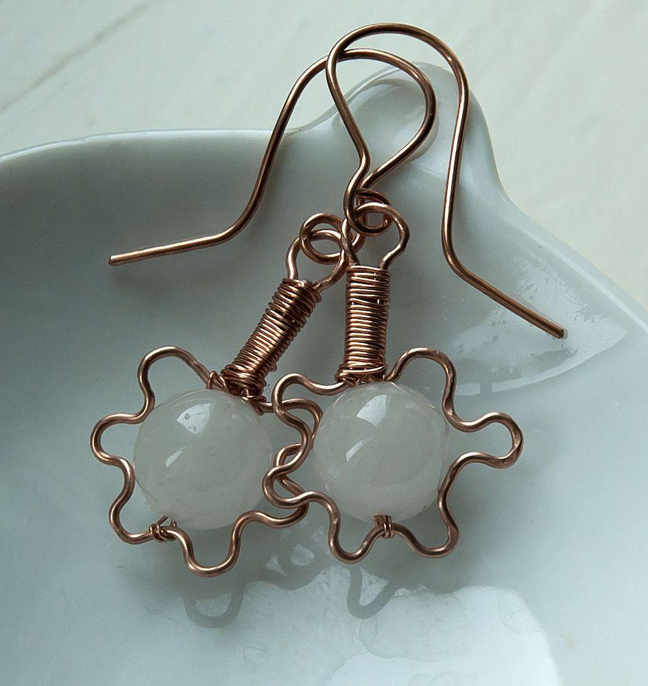 copper white jade handmade wire flower wrapped earrings jewellery