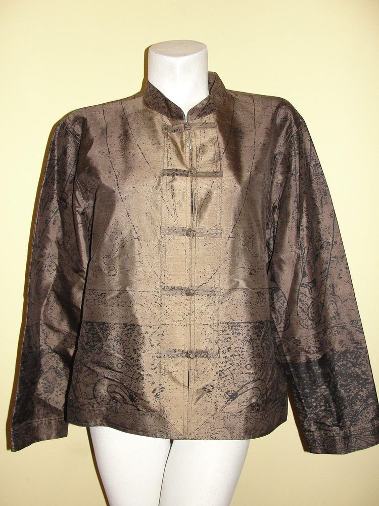 Chico's Sz 3 XL Brown Black Silk Knot Button LS Tunic Blouse Mandarin Collar #Chicos #Blouse #CareerEvening