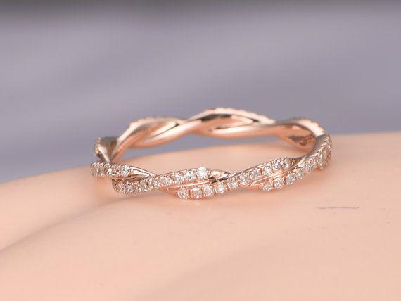 Diamond Wedding Band 14k Rose Gold Infinity Ring Full Etenrity Etsy Matching Wedding Rings Diamond Wedding Bands Rose Gold Infinity Ring