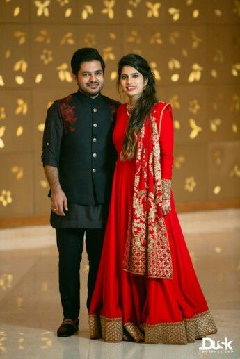 Sangeet couple outfit!! Black n red z always hott   Couple