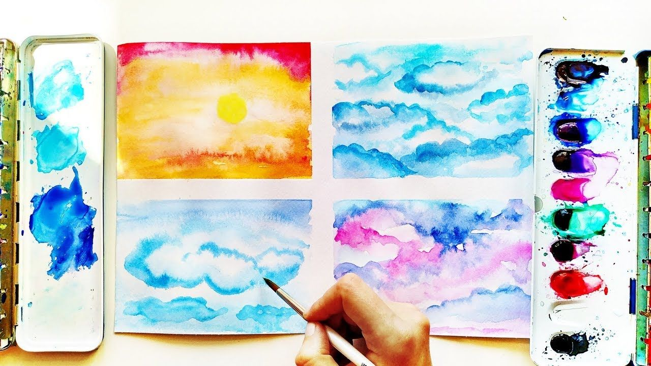 Easy Watercolor Sky Background Ideas For Beginners Relaxing Painting T Watercolor Sky Painting Tutorial Easy Watercolor