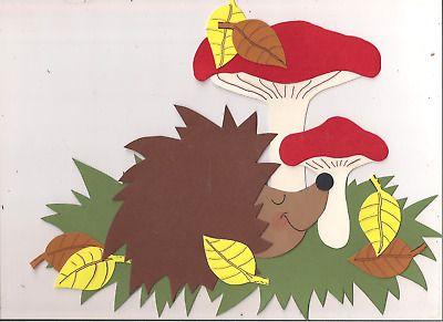 Fensterbild Igel mit Pilzen aus Tonkarton