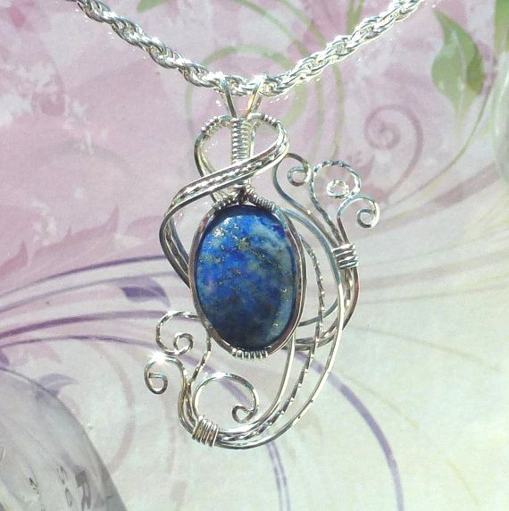 Blue Goldstone  Pendant Necklace Wire Wrapped Jewelry Handmade in Silver with FREE SHIPPING