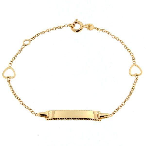 gourmette bapt me b b or 375 coeurs bracelet bapteme cadeau de naissance bijoux bebe. Black Bedroom Furniture Sets. Home Design Ideas