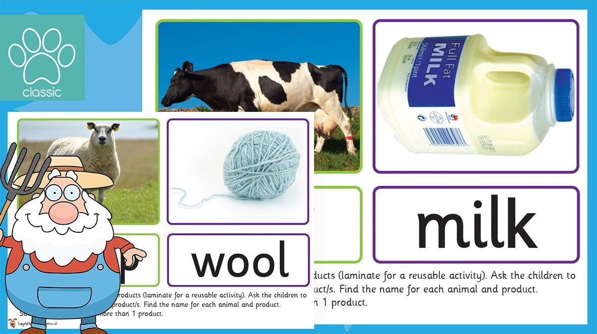 Farm Animals and Products Matching Teachers pet