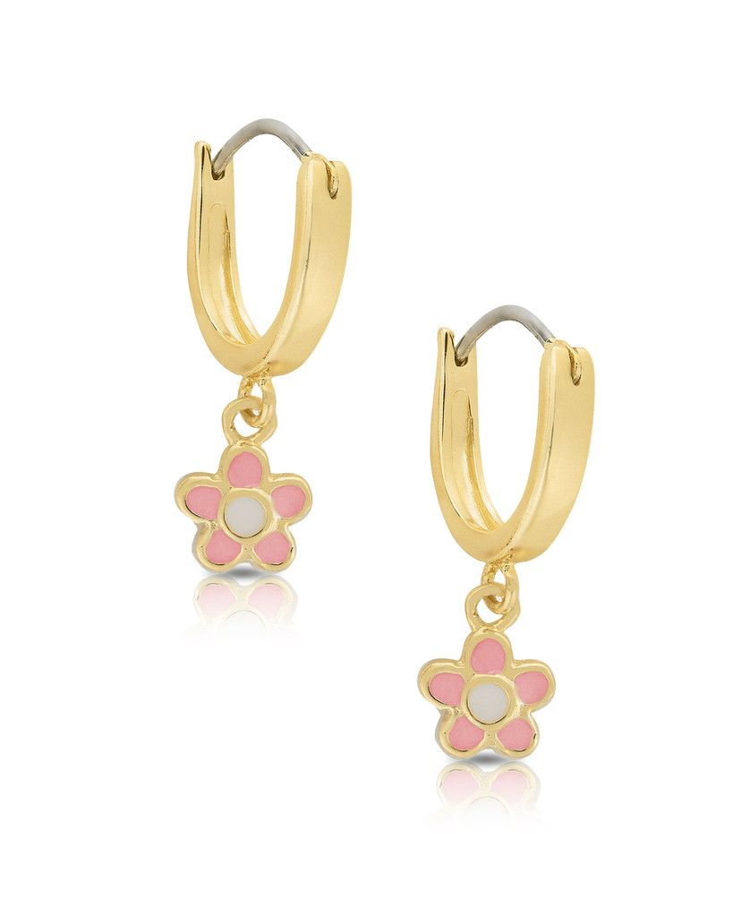 Flower Dangle Hoop Earrings By Lily Nily Gold Plated with Pink Enamel Jewelry for Girls