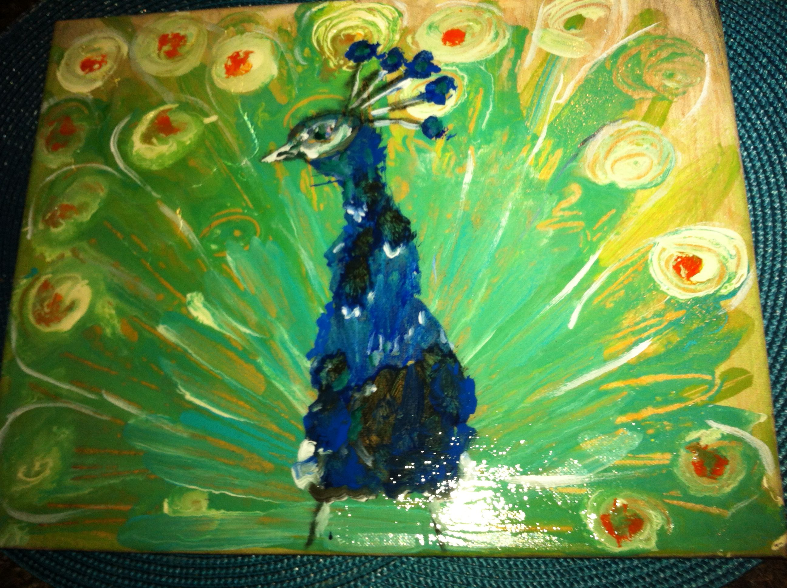 Mr. Peacock is painted in acrylics on canvas.
