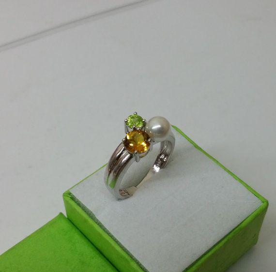 Silberring Tricolor Silber 925 mit Perle SR738 von Schmuckbaron