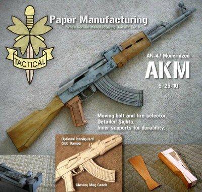 1:1 AK47 Assault Rifle Design 3D DIY Papermodel Toy Papercraft