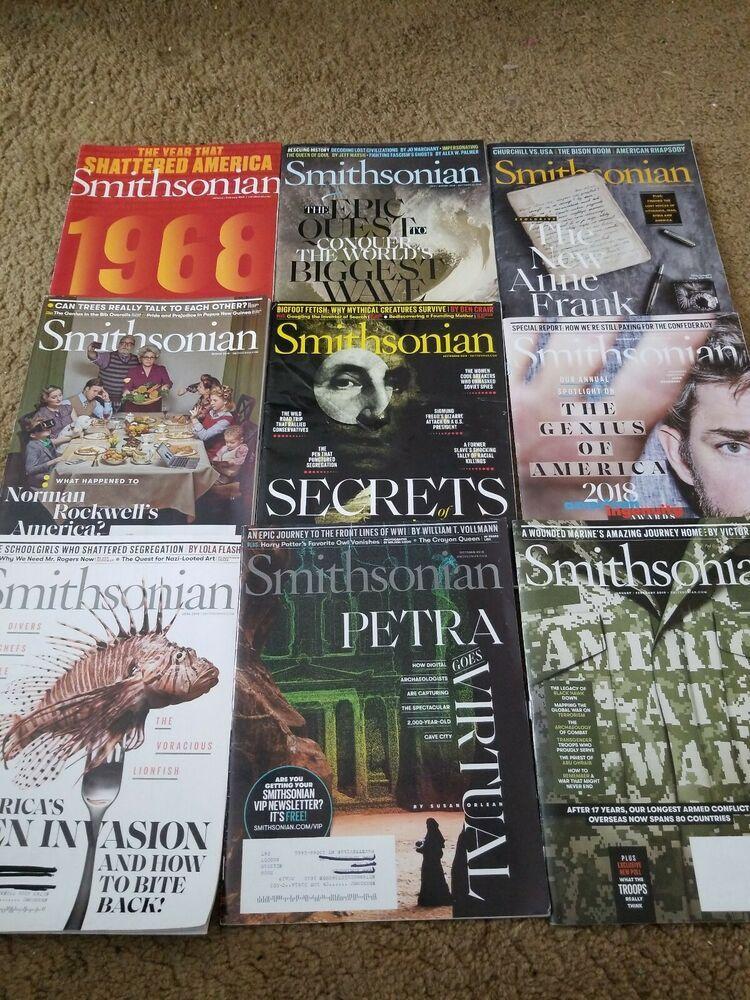 Lot of 9 smithsonian magazines 2018 thru janfeb 2019