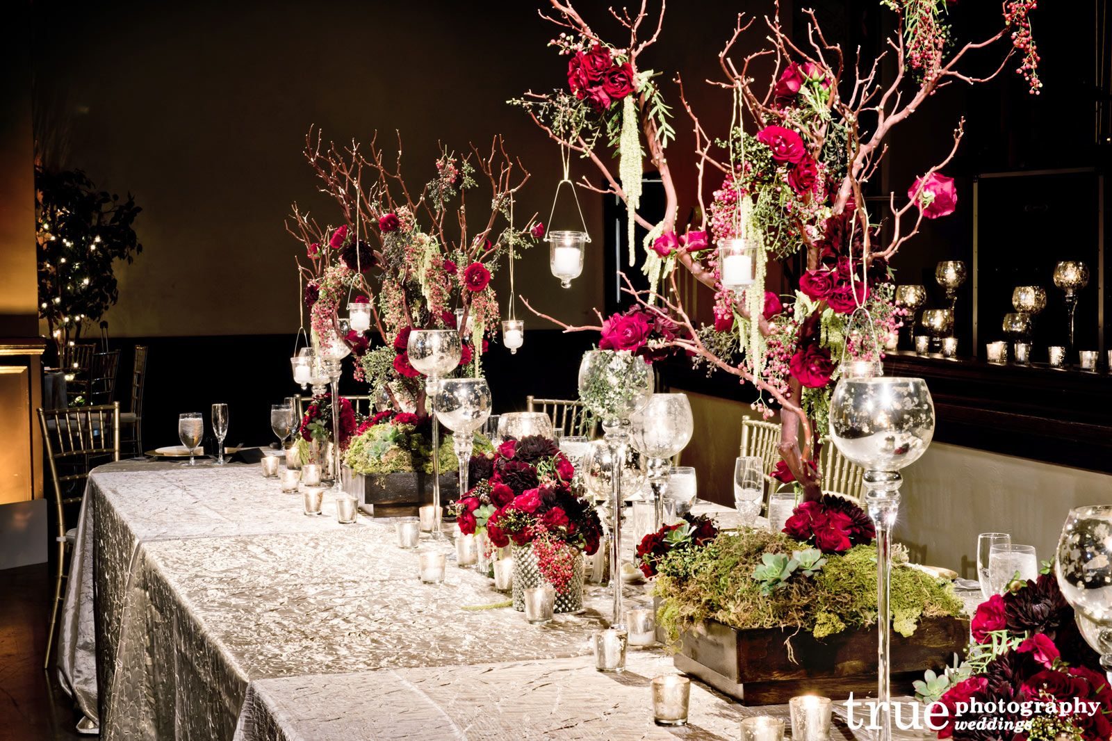 Wedding Table Centerpieces Branches Red Gold Brown An Enchanted