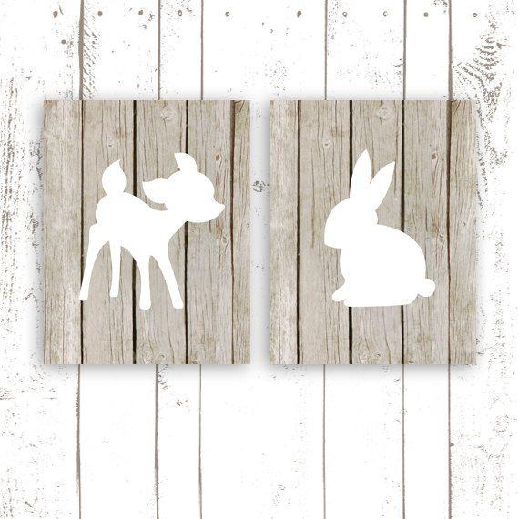 Marvelous Nursery Art Prints, Woodland Nursery Prints On Paper, Faux Wood Art Print  Of Deer And Bunny, Modern Nursery Wall Decor