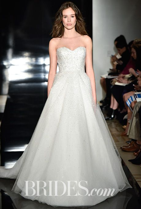 brides reem acra spring 2017 strapless embroidered tulle wedding dress reem acra