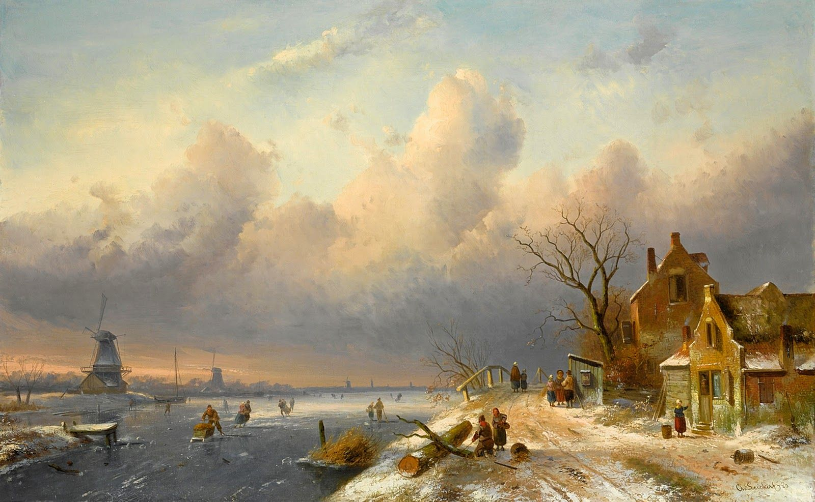 Charles Leickert Romantic Landscape Painter Landscape Winter Painting Old Paintings