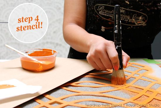 Stencil A Fall Table Runner Project With Chalk Paint And The Teardrop Trellis Wall From Royal Design Studio