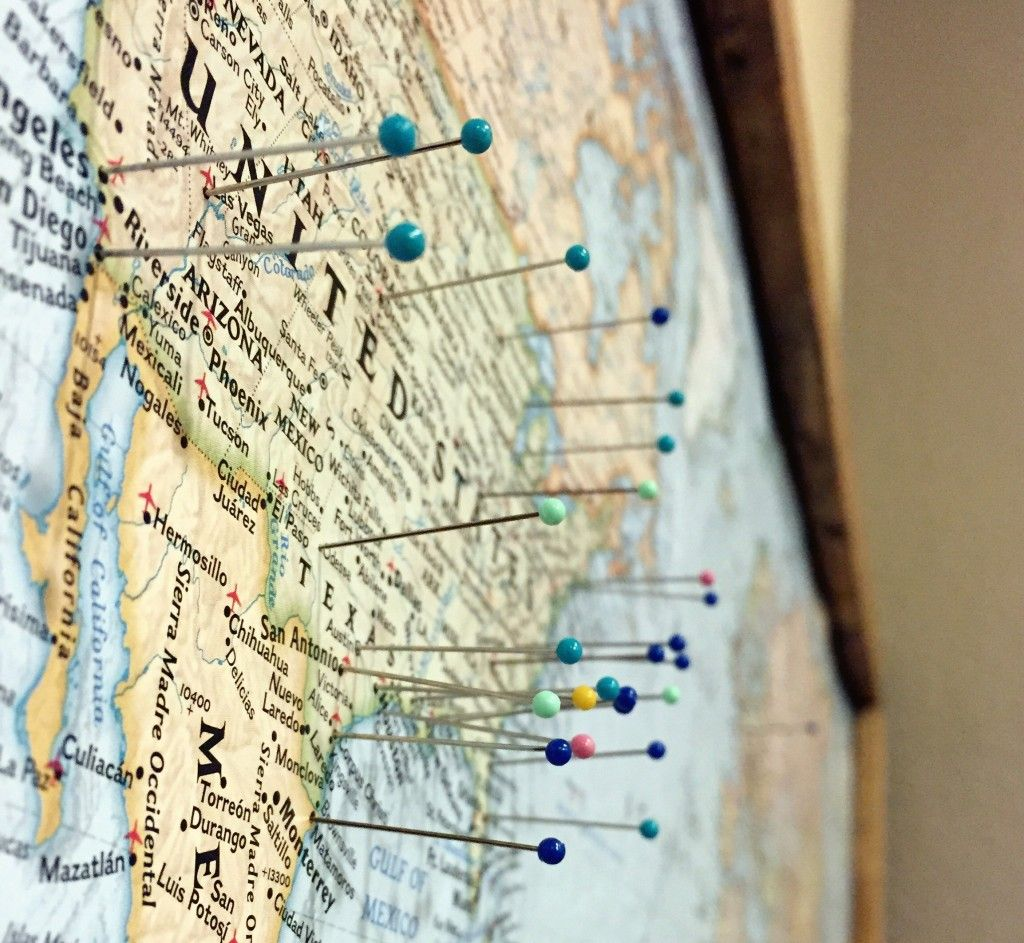 Pin board travel map crafts paper and wanderlust pin board travel map gumiabroncs Gallery
