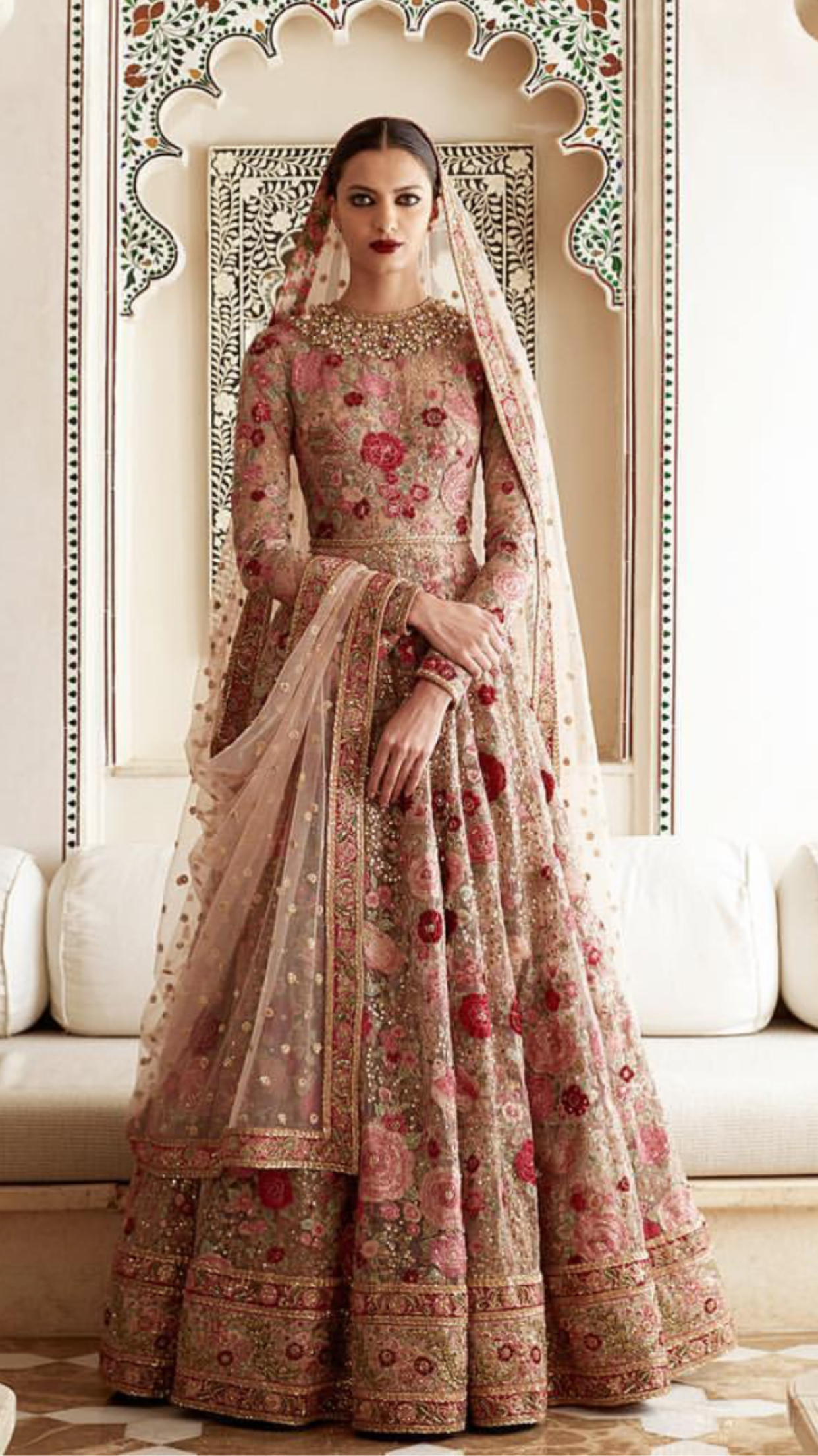 Pomegranate pink bridal lehenga bridal lehengas for Punjabi wedding dresses online