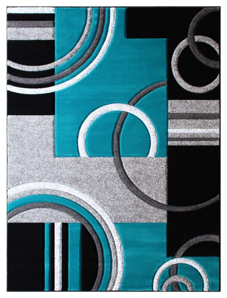 Masada Rugs Sophia Collection Hand Carved Area Rug Modern Contemporary Turquoise Grey Black 2 Feet X 3 Feet 4 Inch Mat Modern Area Rugs Modern Rugs Area Rugs