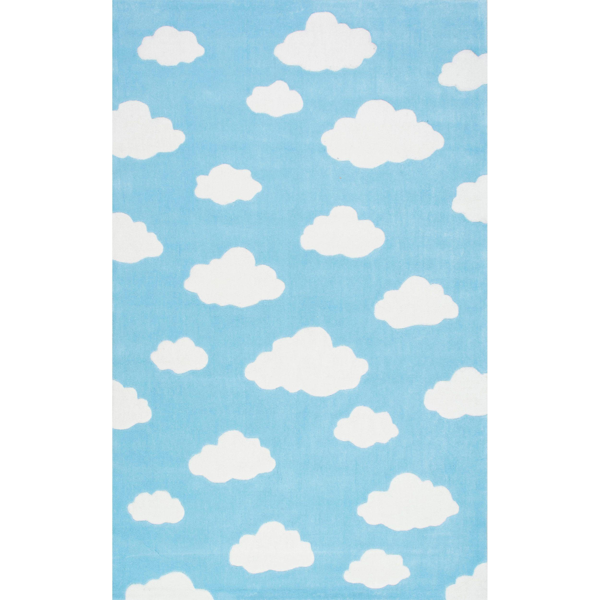 NuLOOM Handmade Modern Clouds Kids Pink/ Blue Rug (5' X 8