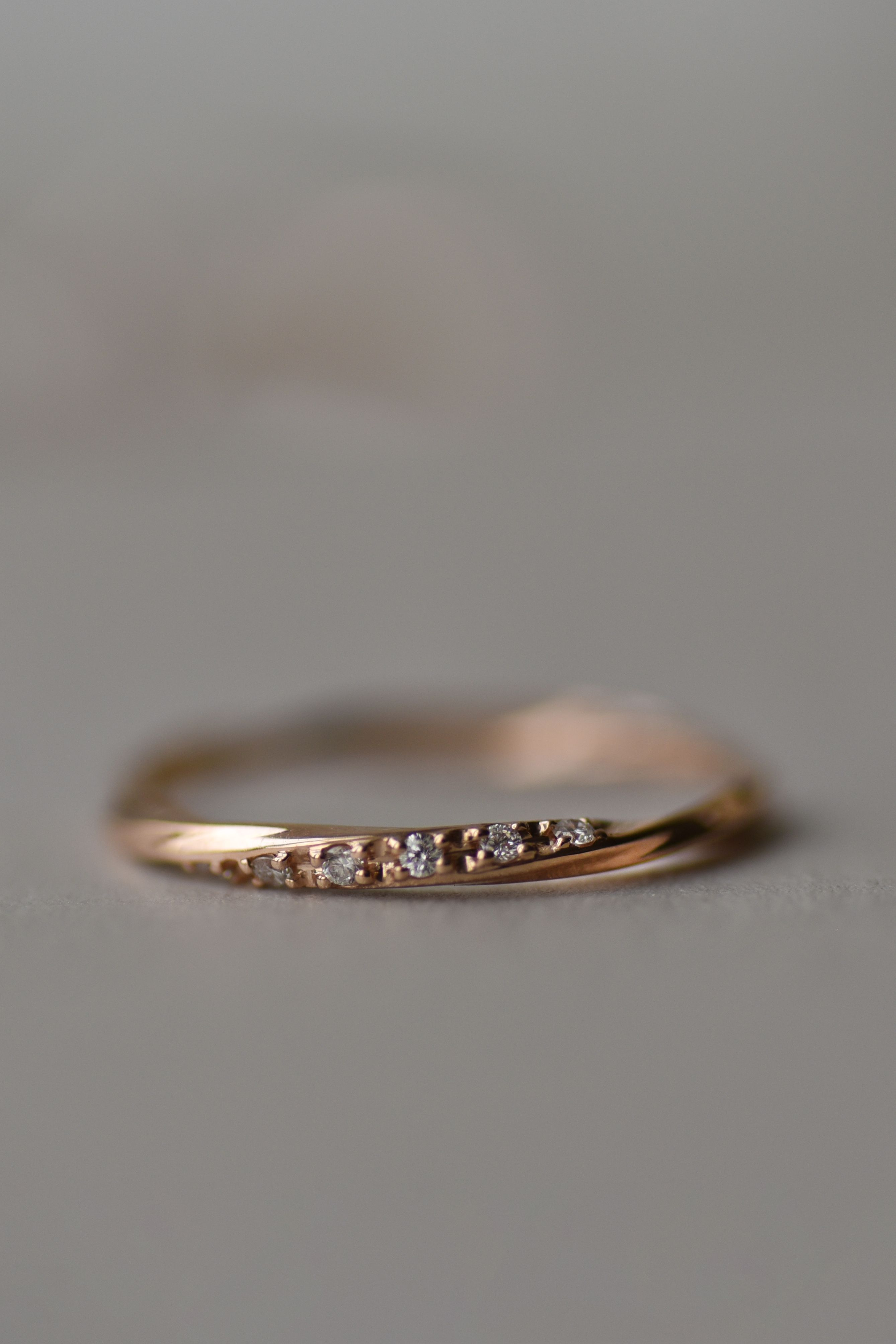 14K Rose Gold Curved Wedding Ring Dainty Stackable Wedding Ring